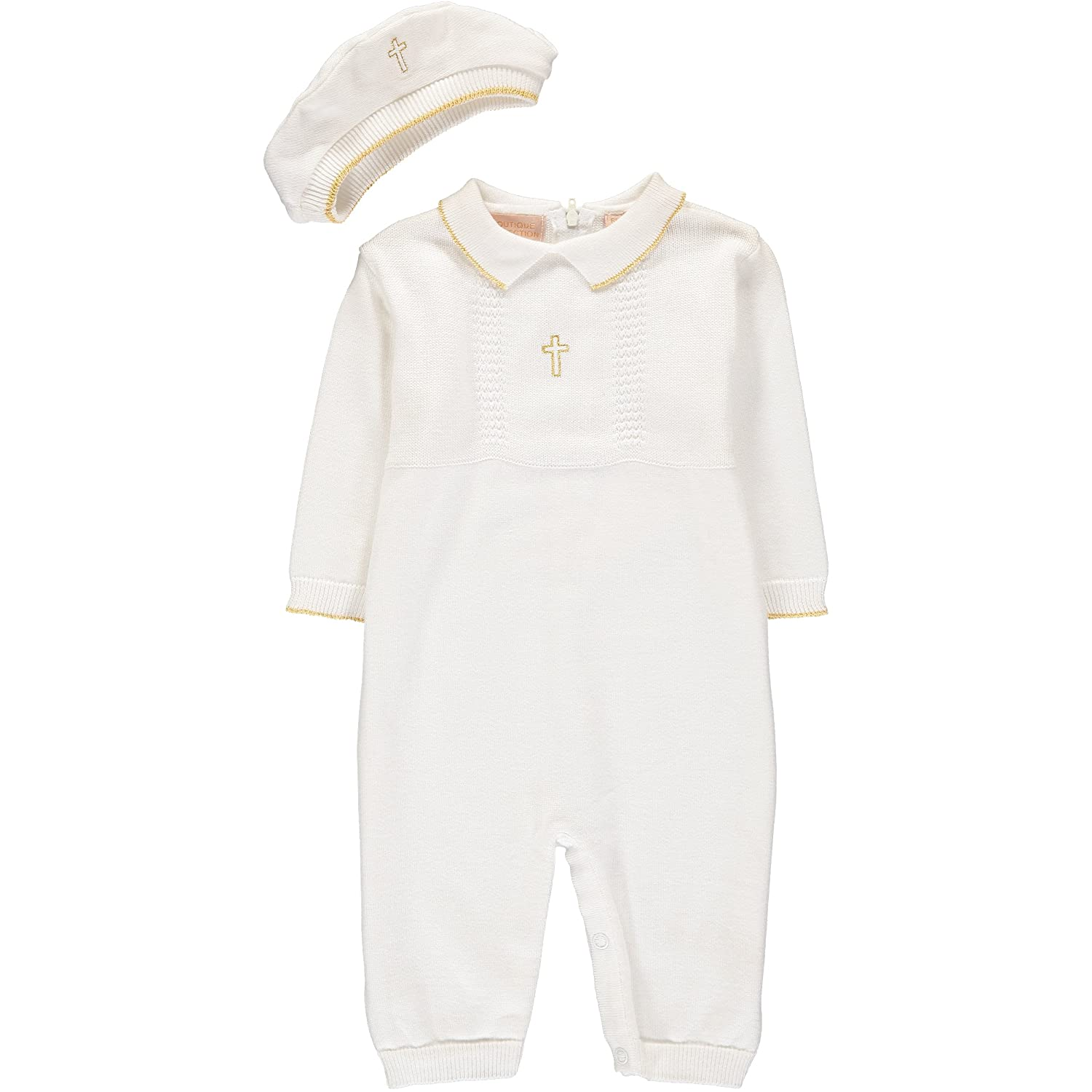 Boutique Collection Baby Christening Longall with Hat - Cross Detail 4003-White-N