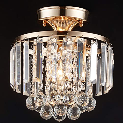 MonDaufie Gold Crystal Chandelier Semi Flush Mount Ceiling Light,D10 Ceiling Light Fixture for Hallway Entryway Living Room Bedroom