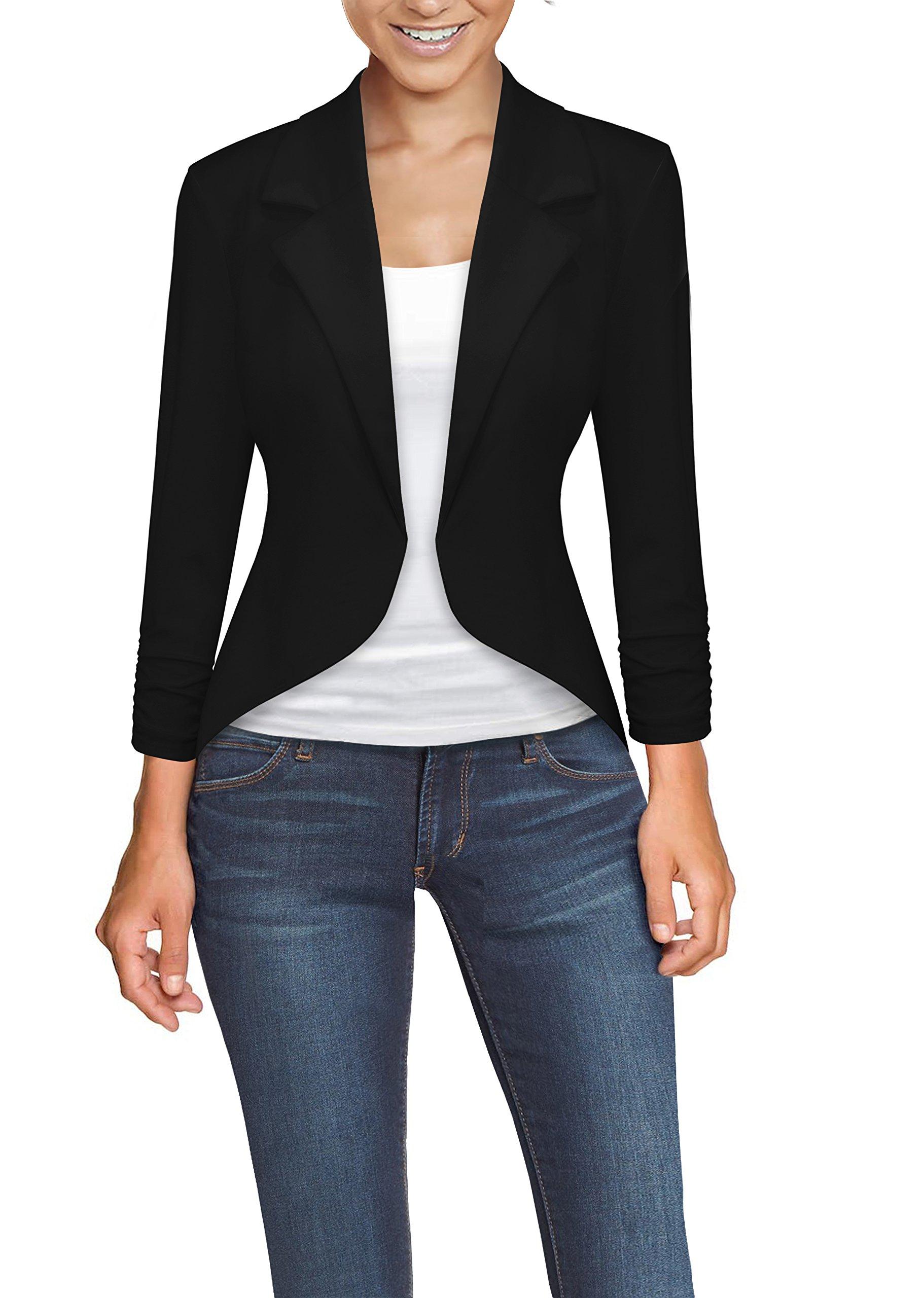 HyBrid & Company Womens Casual Work High Low Blazer Jacket JK45590 1073T Black Large