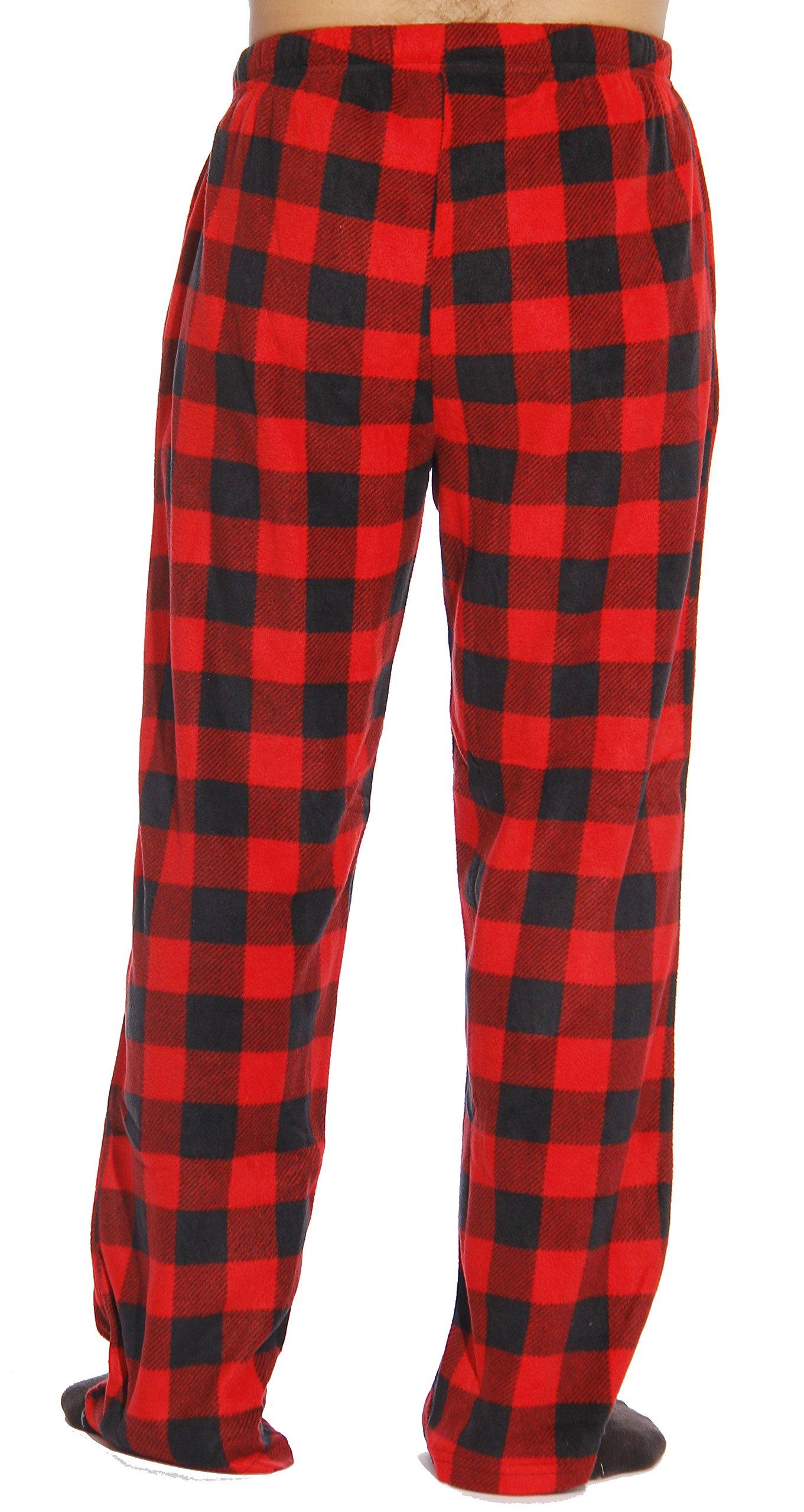 #FollowMe 45902-1A-M Polar Fleece Pajama Pants for Men/Sleepwear/PJs, Red Buffalo Plaid, Medium by #followme (Image #3)