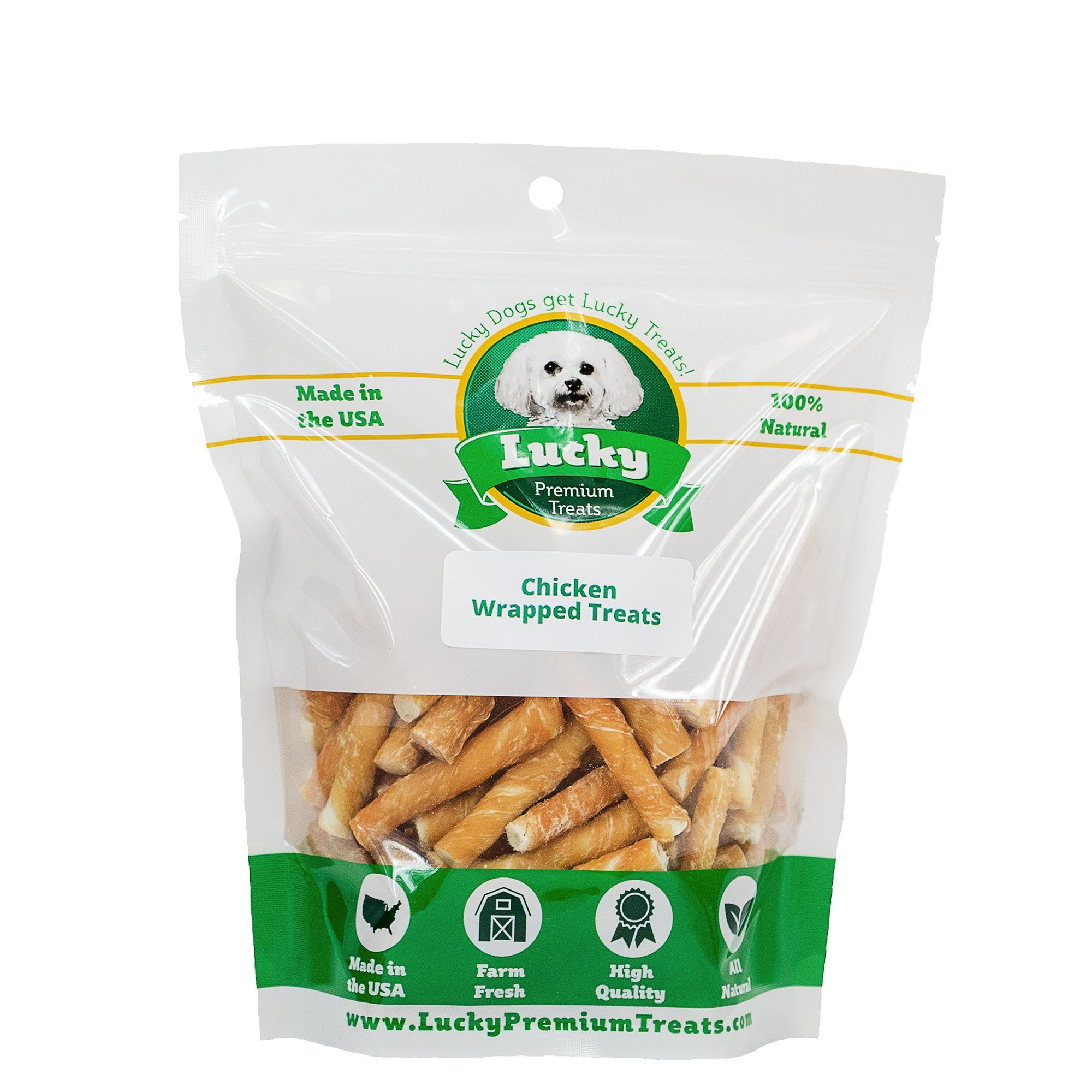 Lucky Premium Treats Chicken Wrapped Rawhide Chews for Toy and Lap Dogs, All Natural Dog Chews (100 Chews) by Lucky Premium Treats