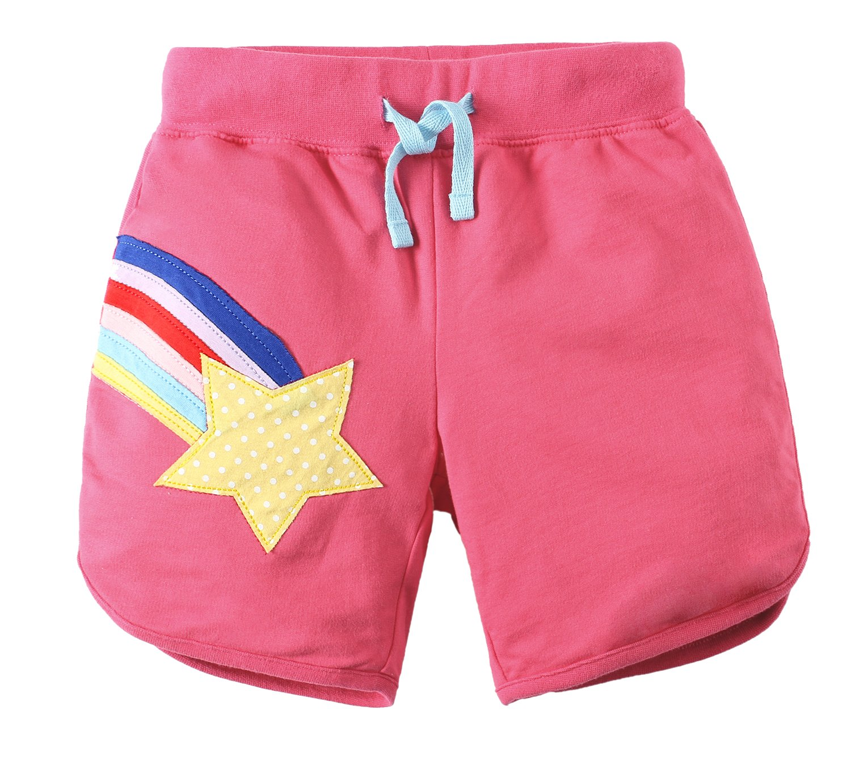 Jobakids Girls Summer Cotton Drawstring Cute Print Shorts(pink/10T)