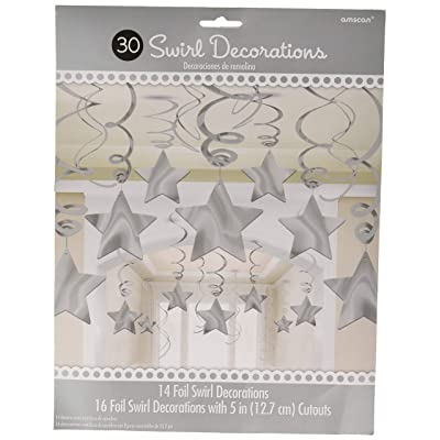 Amscan Stars Hanging Swirls | Silver | Pack of 30 | Party Decor: Toys & Games
