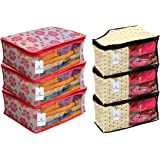 Kuber Industries 3 Piece Non Woven Saree Cover Set, Pink & 3 Piece Non Woven Blouse Cover Set, Ivory Combo