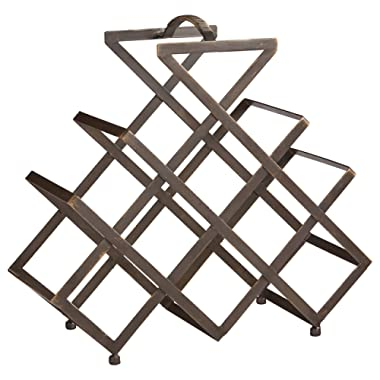 Rivet Modern Geometric Iron Wine Rack, 17.5 H, Black