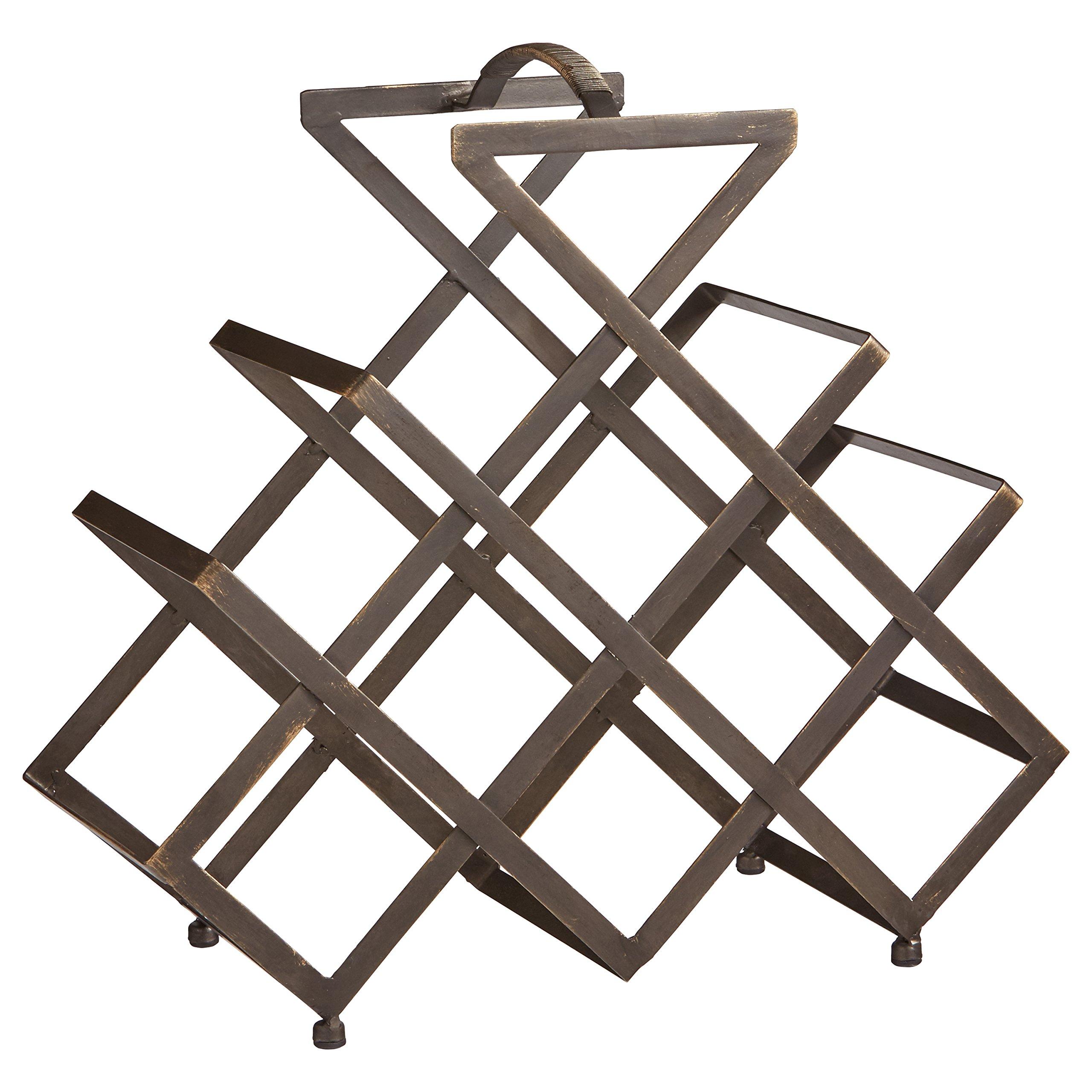 Rivet Modern Geometric Iron Wine Rack, 17.5'' H, Black by Rivet