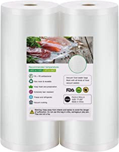 BoxLegend Vacuum Sealer Bags, 2 Rolls 11''x50' Food Saver Bags. Commercial Grade, BPA Free, Heavy Duty, Great for vac Storage, Meal Prep or Sous Vide