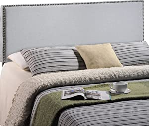 Modway Region Linen Fabric Upholstered Full Headboard in Gray with Nailhead Trim