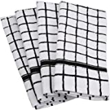 "DII Cotton Terry Windowpane Dish Towels, 16 x 26"" Set of 4, Machine Washable and Ultra Absorbent Kitchen Bar Towels-Black"