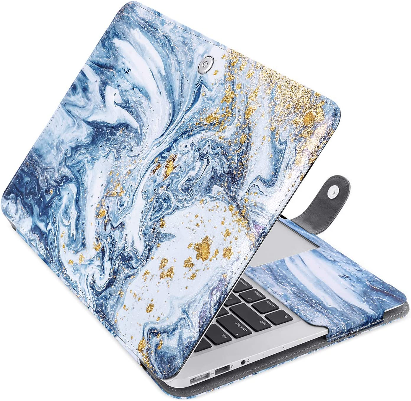 MOSISO MacBook Air 13 inch Case, Pattern PU Leather Book Folio Protective Stand Cover Sleeve Compatible with MacBook Air 13 inch A1466 / A1369 (Older Version Release 2010-2017), Creative Ripple Marble