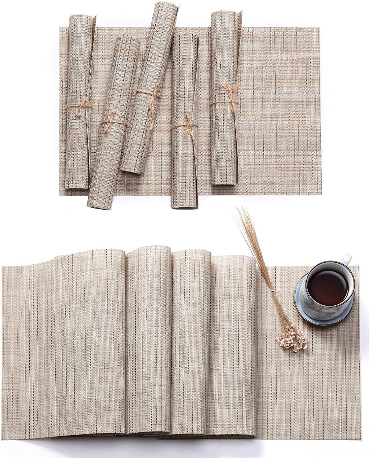 1XTable Runner 6Pcs Placemats beige HYSENM Solid Color PVC Vinyl Table Placemats and Runner Set Bamboo Pattern Heat Resistant Table Mats