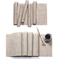 Hysenm Solid Color PVC Vinyl Table Placemats and Runner Set Bamboo Pattern Heat Resistant Table Mats