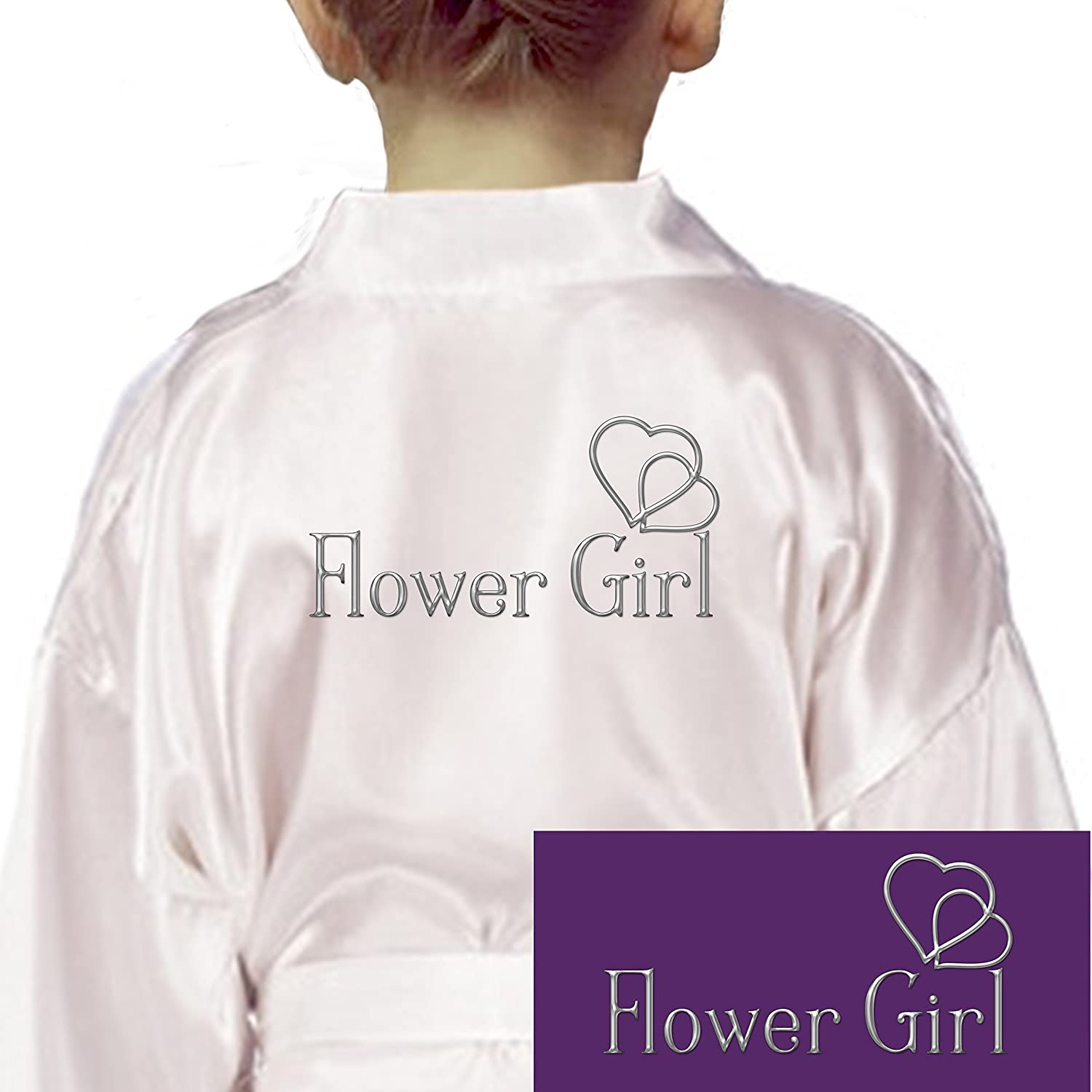 9372f8449a Inspired Creative Design Personalised Childrens Satin Kimono Robe Flower  Girl