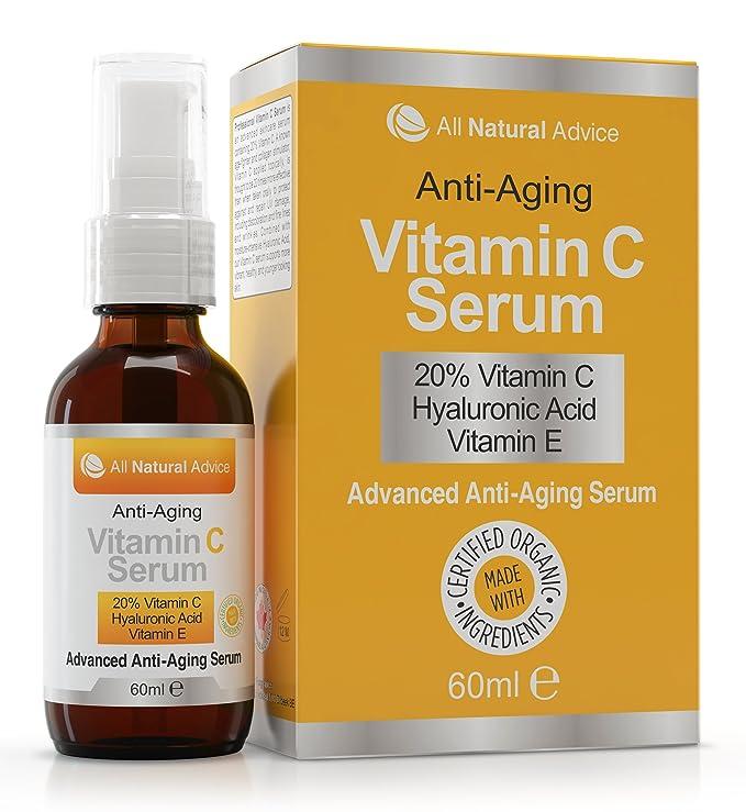 Sérum 20% Vitamina C Orgánico 60 ml Vitamina E Ácido Hialurónico Todo Tipo de Pieles Anti-edad arrugas manchas Utilizar con Derma Roller Para Hombres y ...
