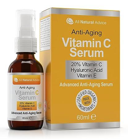 Sérum 20% Vitamina C Orgánico 60 ml Vitamina E Ácido Hialurónico Todo Tipo de Pieles