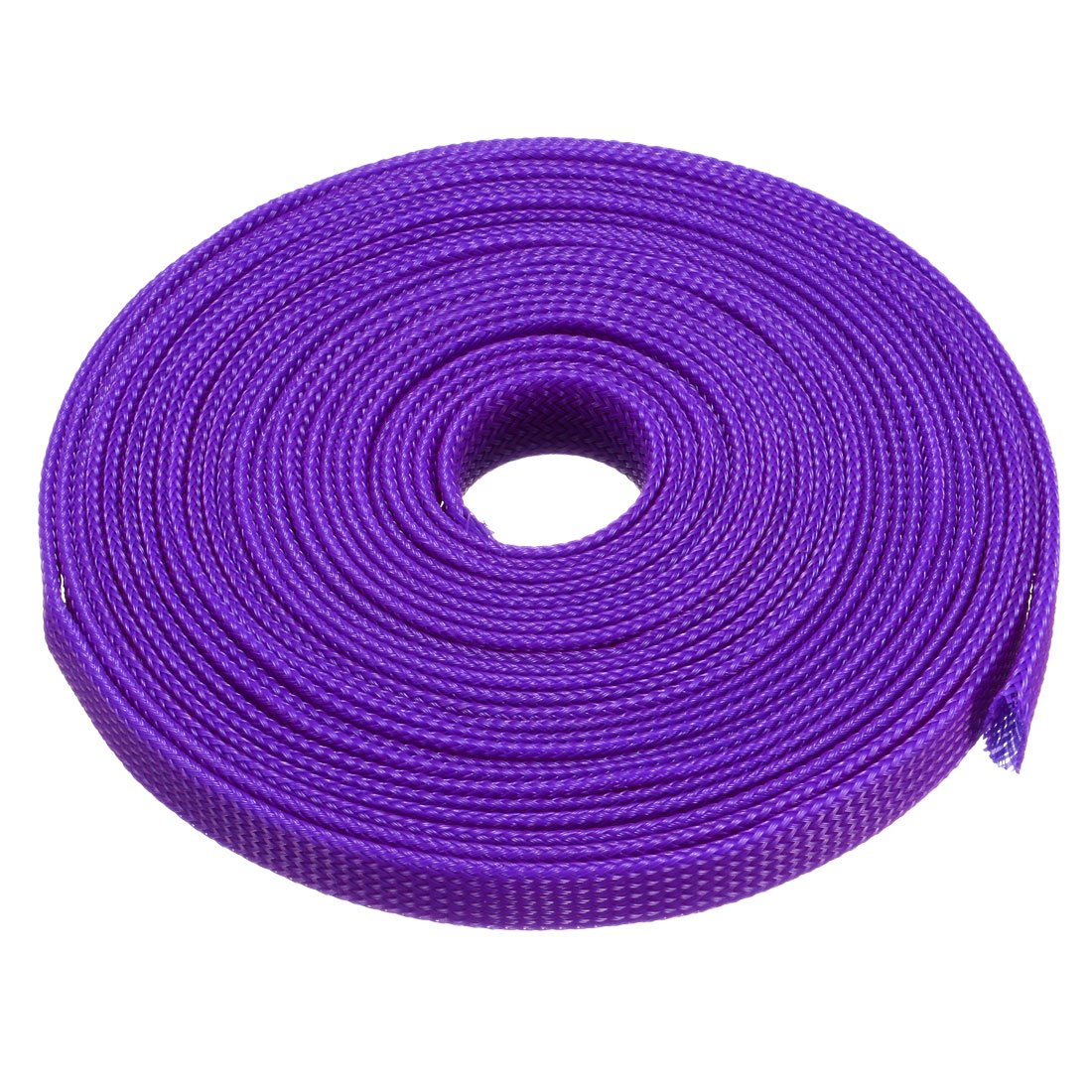 uxcell PET Braided Sleeving 16.4 Feet 5m Expandable Cable Wrap 10mm Diameter Wire Sheath Purple