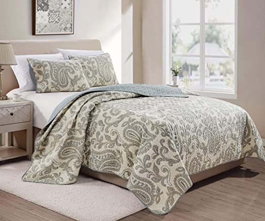 Amazon.com: Baker 3-Piece Paisley Taupe Cream Evergreen Fog Printed Motif  Soft-Washed Microfiber Quilt Set, Queen Size: Home & Kitchen
