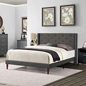 BINGTOO Full Size Bed Frame with Headboard, Upholstered Platform Bed Frame/No Box Spring Needed/Mattress Foundation/Wood Slat Support/Easy Assembly, Tufted