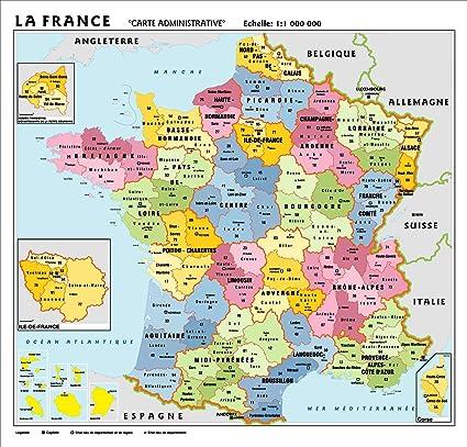 Regioni Francia Cartina.Carta Geografica Murale Francia In Lingua Madre Francese 100x140 Bifacciale Fisica E Politica Amazon It Cancelleria E Prodotti Per Ufficio
