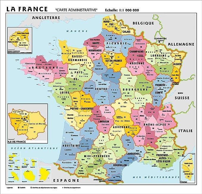 Cartina Politica Francia Con Regioni E Capoluoghi.Carta Geografica Murale Francia In Lingua Madre Francese 100x140 Bifacciale Fisica E Politica Amazon It Cancelleria E Prodotti Per Ufficio
