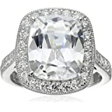 Platinum Plated Sterling Silver Clear Cushion Cubic Zirconia Ring