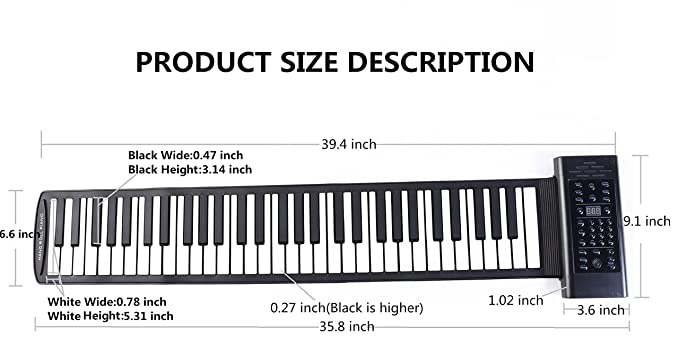 Amazon Portable Roll Up Piano 61 Keys Chord Built In Stereo