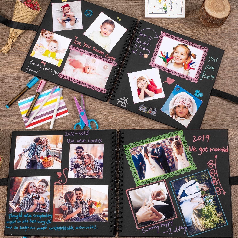 60 p/áginas tijeras y 216 esquinas de fotos perfecto para regalos o para ti mismo /Álbum de fotos con 5 bol/ígrafos met/álicos color blanco