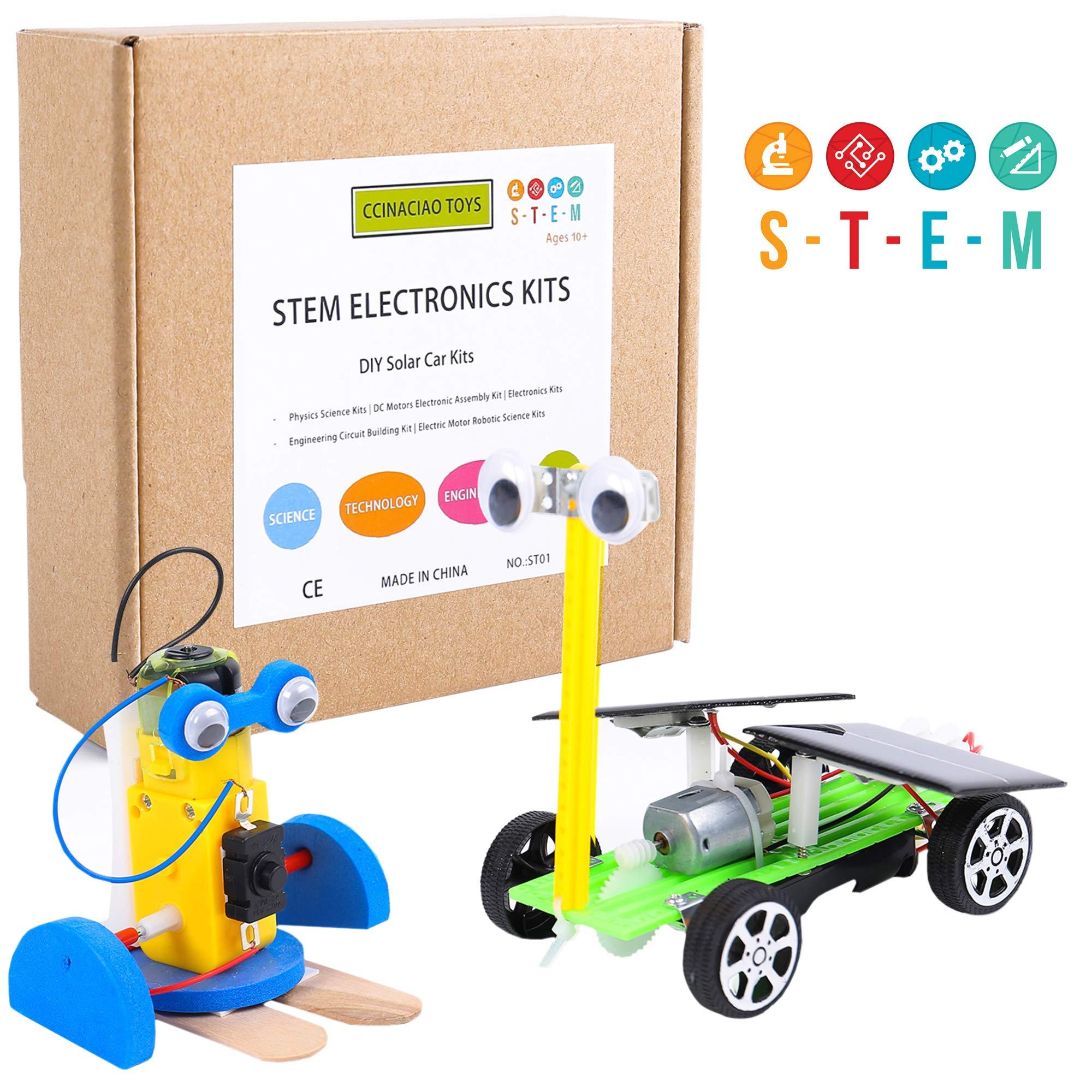 CCinaCiao Robotic Science Kits, DC Motors Electronic Assembly Kit, DIY Solar Car Kits, STEM Kits for Boys and Girls, Kids Science Experiment Kits(2 Kits)