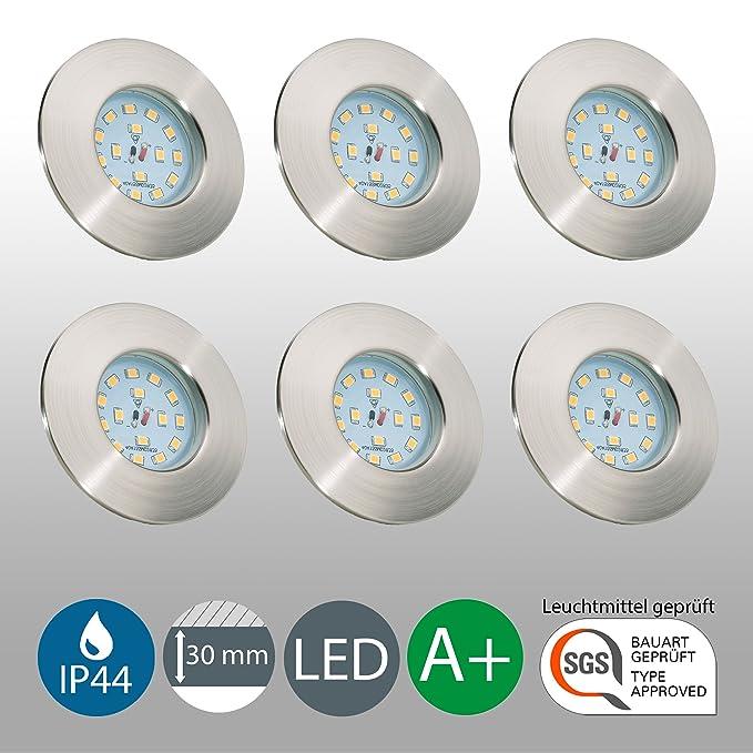 LED Badeinbaustrahler ultra flach inkl. 6 x 5W LED Modul 230V IP44 ...