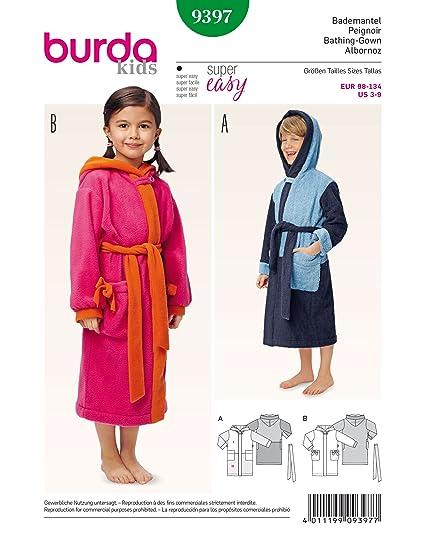 Amazon.com: Burda Children\'s Hooded Bath Robe Sewing Pattern 9397 ...