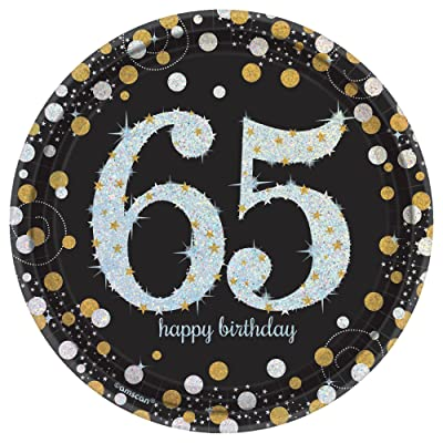 "Sparkling Celebration""65"" Round Prismatic Plates, 7"", Birthday: Toys & Games"