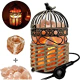 Omonic ( 3-5 KG ) Huge Pink White Himalayan Salt Lamp Night Light Lights Air Purifier, Table Lamp Stainless Steel Base Touch Dimmer Switch Control With 1 Salt Night Light, Pack of 2 Salt Candle Holders (Pink Stainless Steel Base(3-5kg))