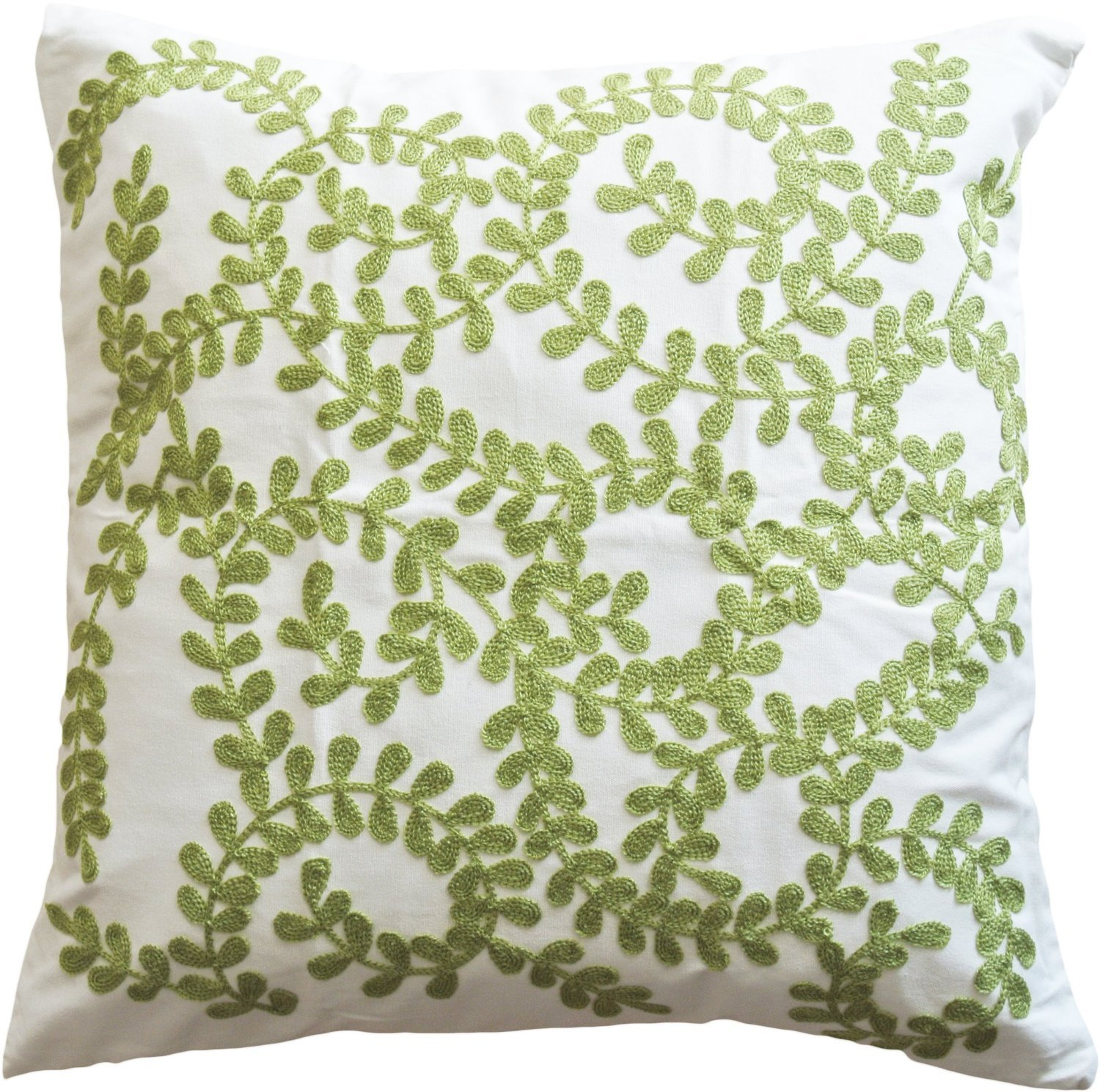 Green Vine Embroidery Decorative Throw Pillow COVER 18