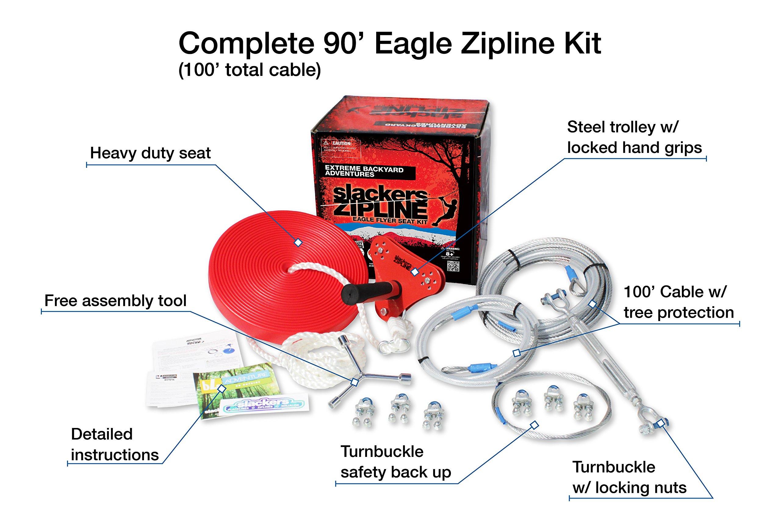 90' Eagle Series Seated Zipline Kit by Slackers (Image #2)