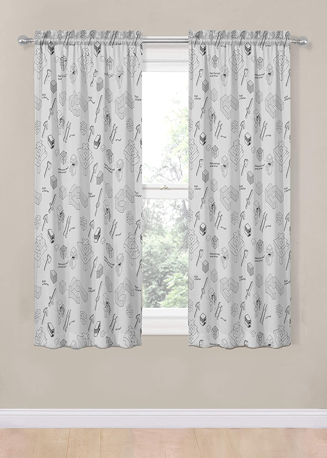 Beautiful Room D/écor /& Easy Set up Jay Franco Minecraft Survive Light 63 inch Drapes 4 Piece Set Window Curtains Include 2 Panels /& 2 Tiebacks Official Minecraft Product