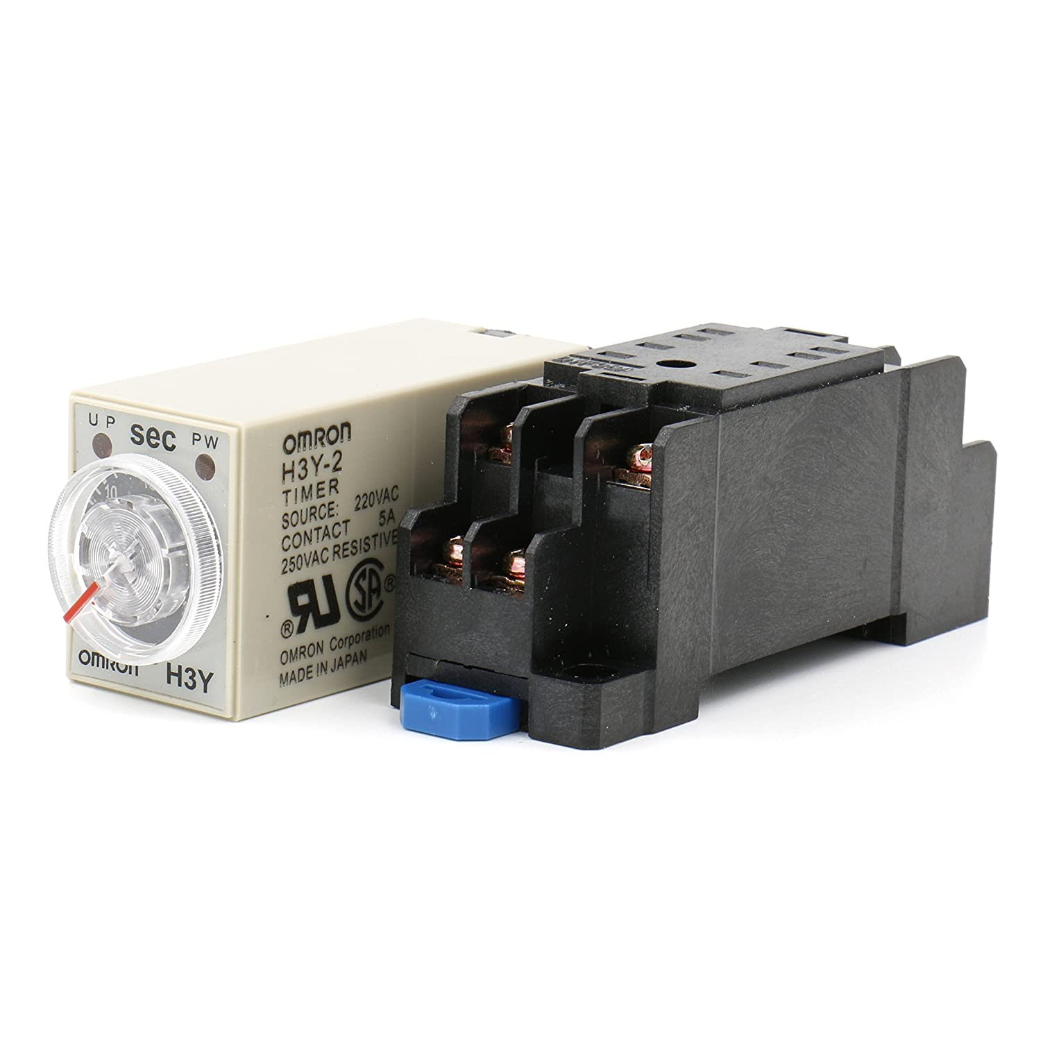Heschen Timer Delay Relay H3Y-2 220VAC 0-5 Seconds 250VAC 5A 8Pin terminal DPDT with DYF08 35mm DIN Rail Socket Base Heschen Electric Co.Ltd H3Y-2-220V-5S