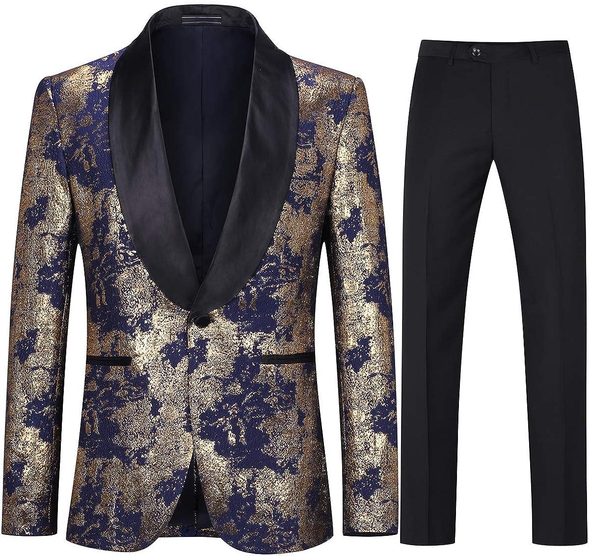 Boyland Men's Golden Tuxedo Suits 2 Pieces Luxury Shawl Lapel Tux Suit Jacket Pants Prom Party Dinner Dress