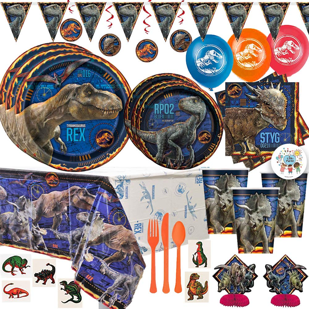 Fallen Kingdom Jurassic World Dinosaur Birthday Party Supplies Pack For 16 With Dinner and Dessert Plates, Napkins, Cups, Tablecover, Decoration Kit, Balloons, Cutlery, Tattoos, and Exclusive Pin