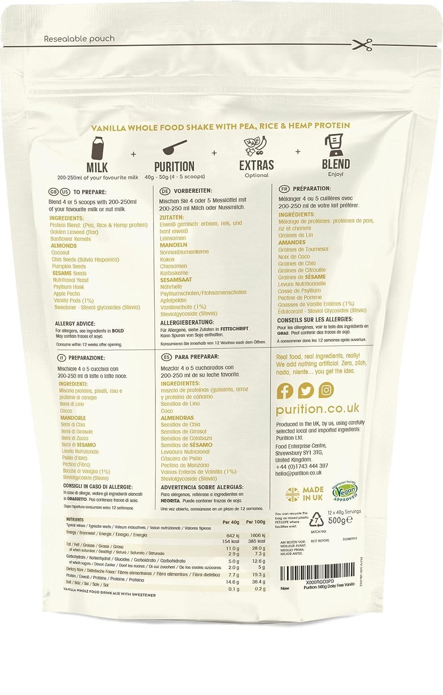 Purition Batido de proteínas veganos de Vainilla (500g). Batido para el desayuno sin lácteos: Amazon.es: Salud y cuidado personal