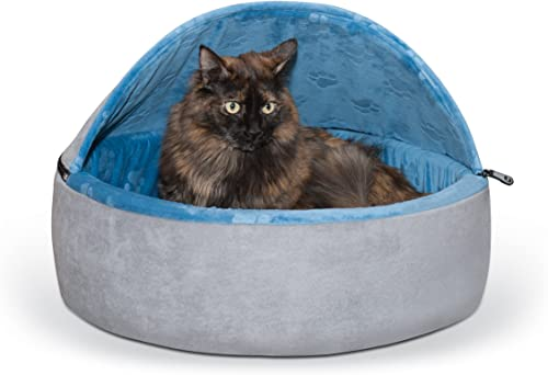 K H Manufacturing Self-Warming Kitty Hooded Bed, Large 20 , Blue Gray