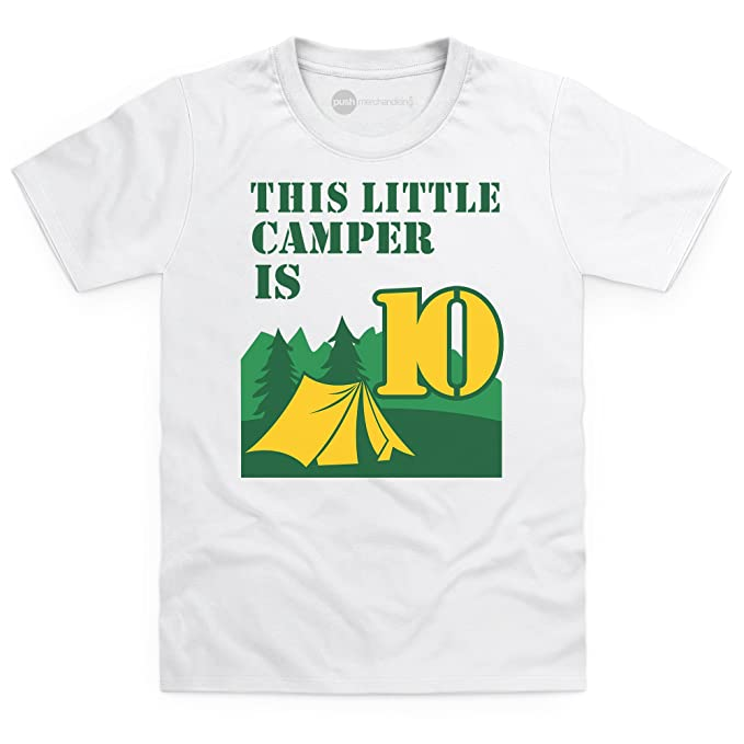 Kids Tees 10th Birthday Camping T-Shirt Camp 10 Year Old Camiseta infantil, Para