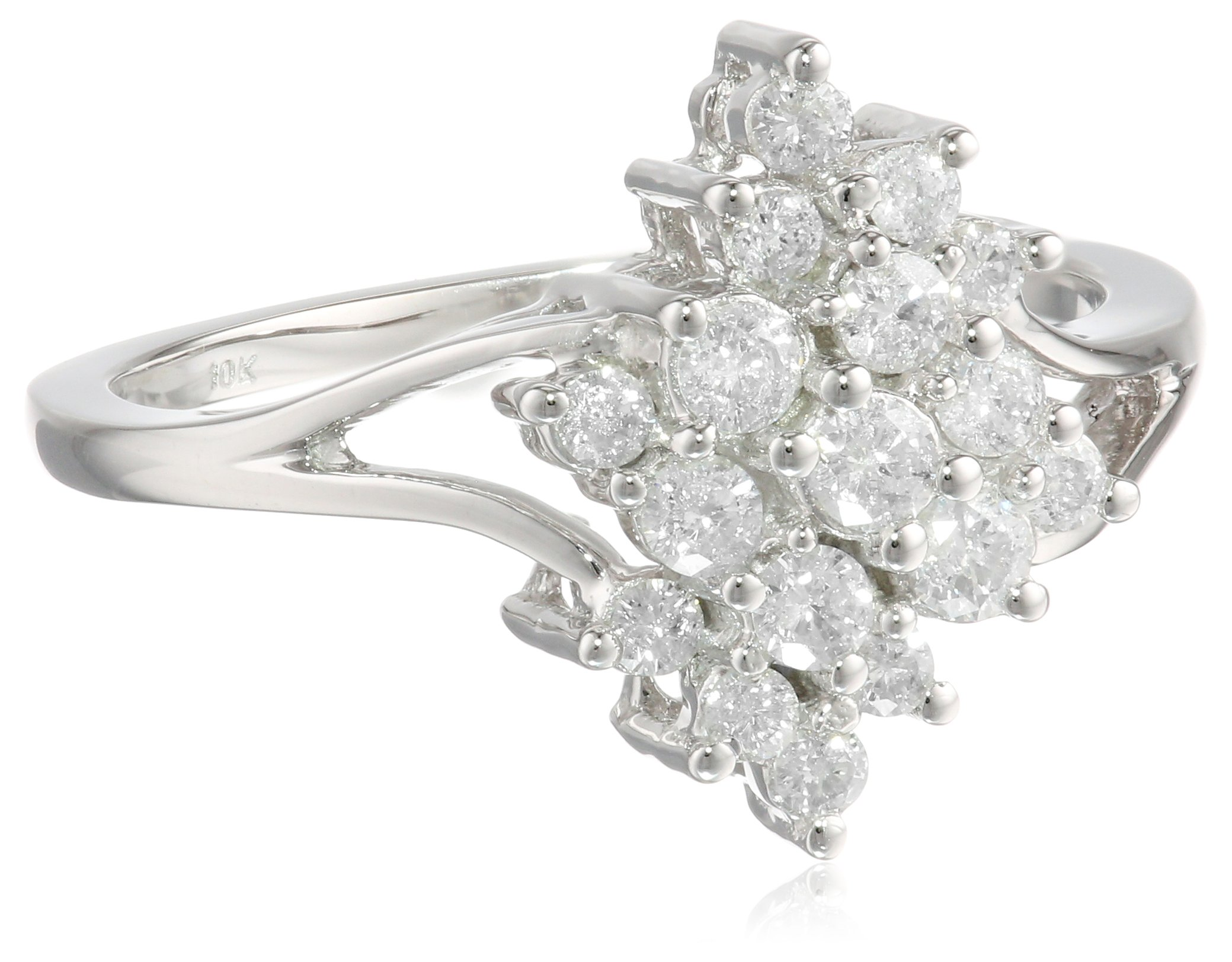 10k White Gold Diamond Ring (0.52 cttw , H-I Color , I3 Clarity) Size 7