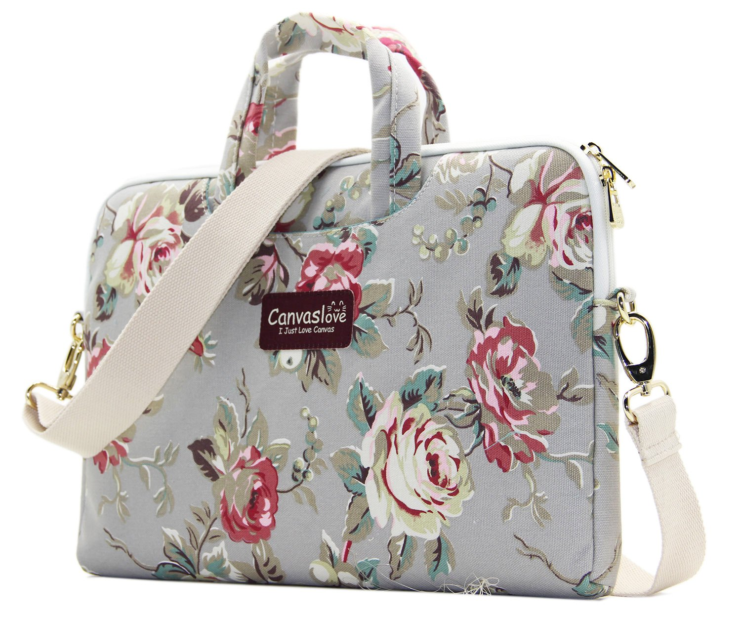 Canvaslove Grey Rose Pattern 15 inch Canvas Waterproof Laptop Shoulder Messenger Bag for 14 Inch to15.6 inch Laptop