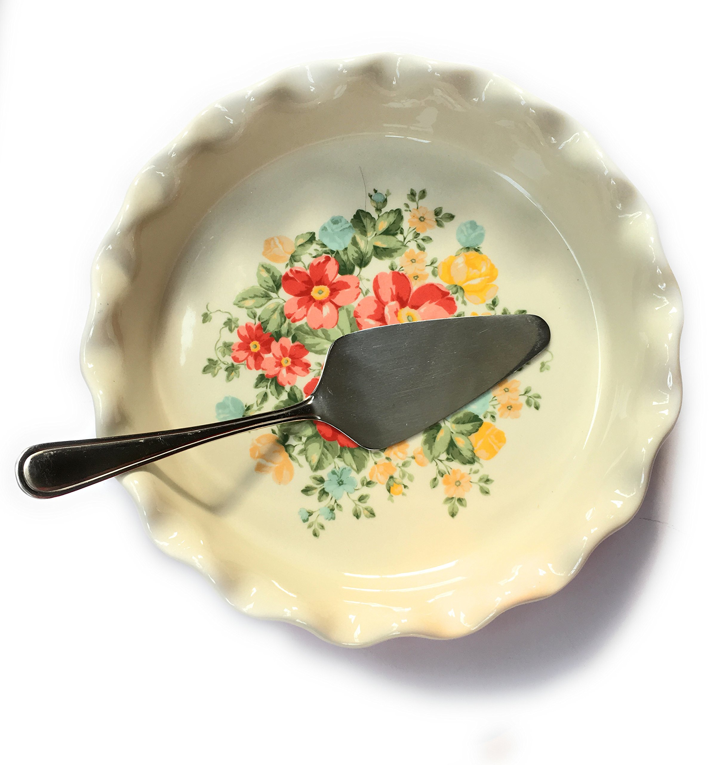 """Pioneer Woman BEAUTIFUL RED 9"""" Pie Baking Dish with a Red BASE AND CREAMY WHITE INTERIOR WITH A WHIMSICAL FLORAL PATTERN AND Mainstays STAINLESS STEEL PIE CAKE SERVER GREAT GIFTS BAKERS AND COOKS FOR"""