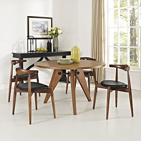 Modway Stalwart Mid-Century Modern Faux Leather Upholstered Beechwood Four  Kitchen and Dining Room Chairs in Dark Walnut Black