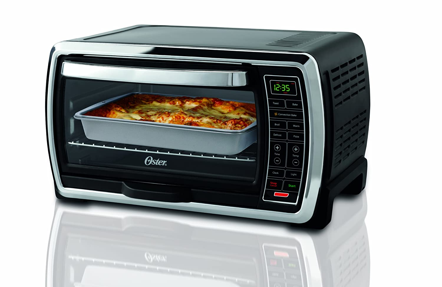 oster lg capacity countertop 6 slice digital convection toaster oven black new ebay. Black Bedroom Furniture Sets. Home Design Ideas