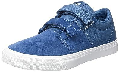 Supra Stacks II Vulc Velcro, Zapatillas Unisex Niños, Blau (Slate-White), 38 EU