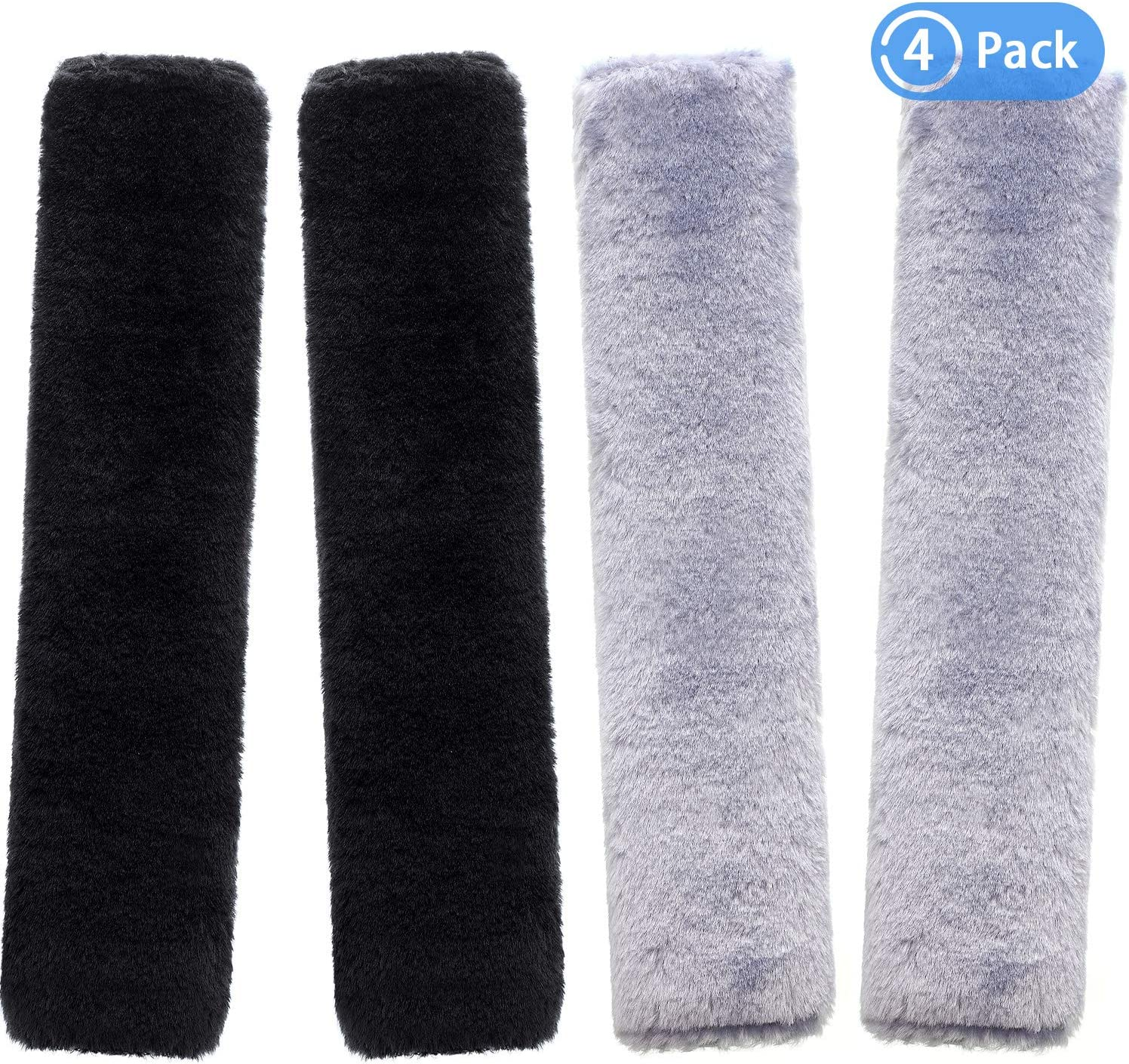 4 Pieces Seat Belt Pads Soft Faux Sheepskin Car Seat Belt Pads Cover Suitable with Car Seatbelt and Backpack Straps 2 Black and 2 Gray Seatbelt Protector for Kids Adults