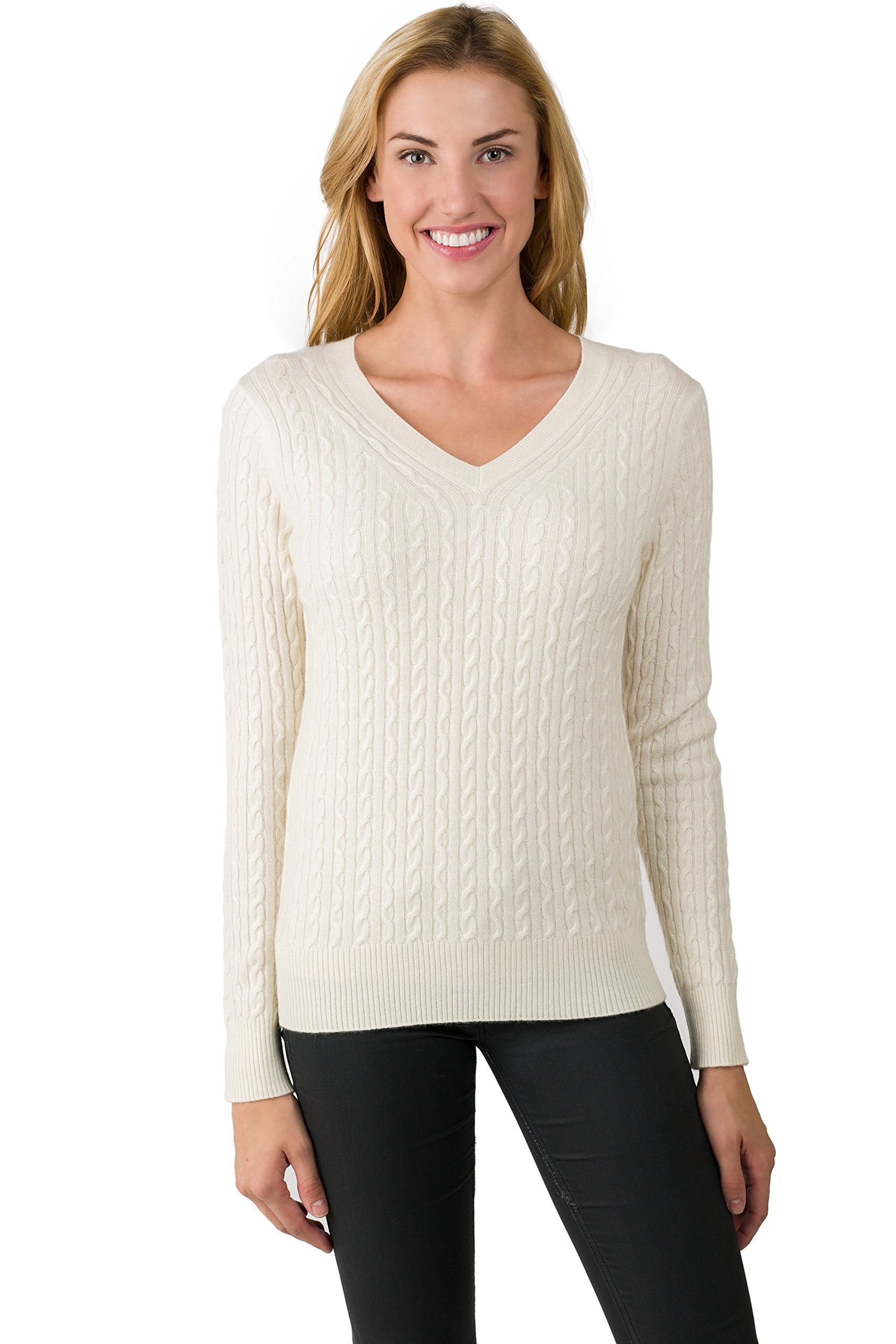 J CASHMERE Women's 100% Cashmere Long Sleeve Pullover Cable-knit V-neck Sweater Cream Medium