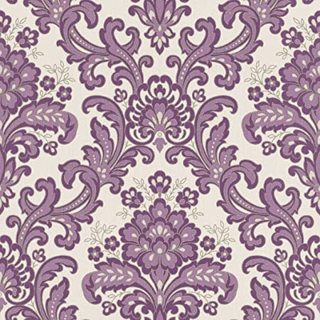 RASCH VERONA VINYL PURPLE DAMASK WALLPAPER 535037